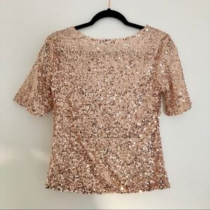 Fray Tops - NWOT Fray slouchy rose gold sequin top